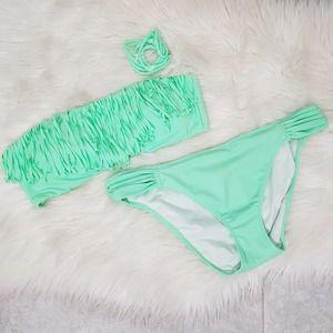Victoria's Secret Bikini Green Fringe 2 Pc Large